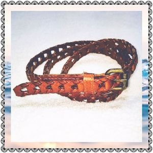 """Braided leather belt, brown, 41"""" long"""